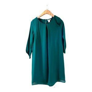 H&M dark green polyester back zip shift dress